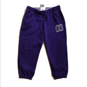 Adidas Purple Fleece Capri Sweats M NWT